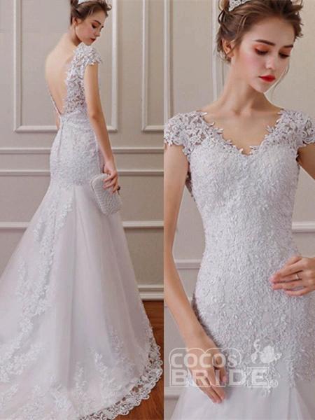 Affordable V-Neck Short Sleeves Lace Mermaid Wedding Dresses_4