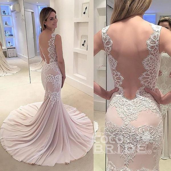 Mermaid Appliqued Sleeveless Gown Chiffon Sexy Backless Wedding Dress_2