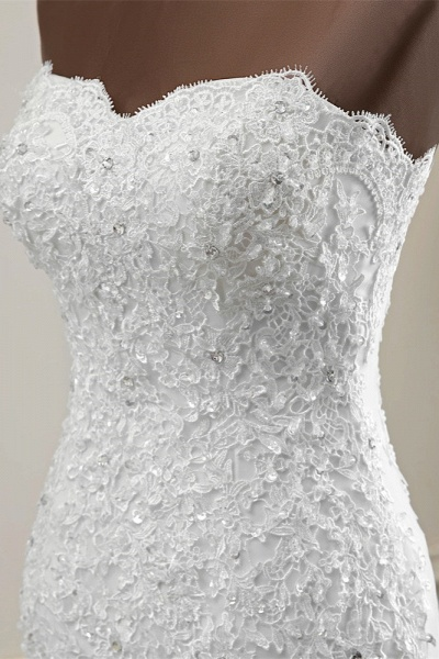 Chic Long Mermaid Strapless Lace Appliques Wedding Dress with Beadings_6