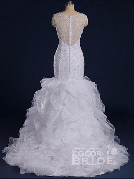 Gorgeous Sleeveless Covered Button Mermaid Wedding Dresses_2