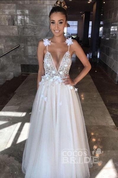 Deep V-neck Beading Straps Tulle Appliques A-line Custom Beach Wedding Dress_3