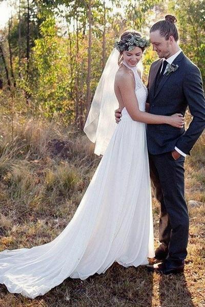 Fashion A-line Halter Sleeveless Backless Chiffon Beach Wedding Dress_1
