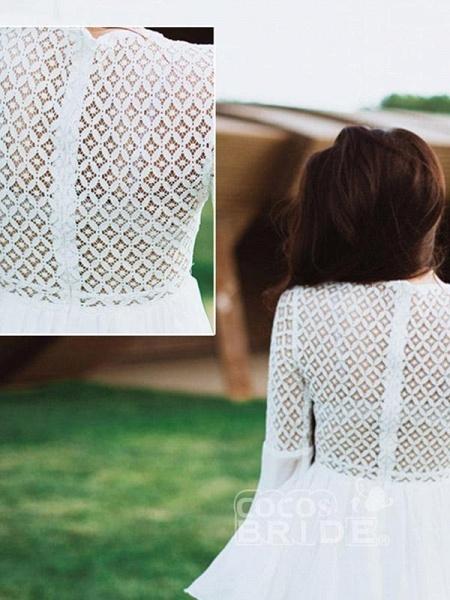 Gorgeous V-Neck Long Sleeves Floor Length Ruffles Wedding Dresses_5