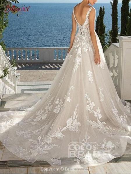 Lace Appliques Open Back A-Line Wedding Dresses_4