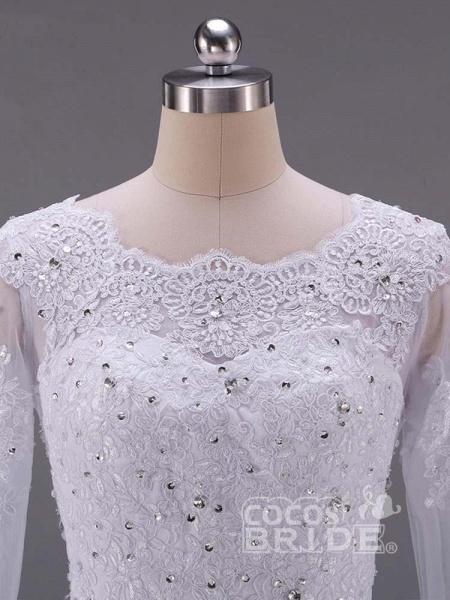 Long Sleeves Beaded Zipper Sweep Train Wedding Dresses_3