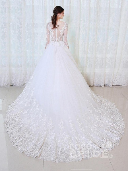 V-Neck 3/4 Sleeves Lace Ball Gown Wedding Dresses_2