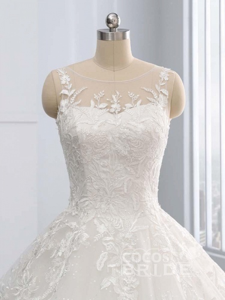 Gorgeous Lace-Up Sweep Train Ball Gown Wedding Dresses_5