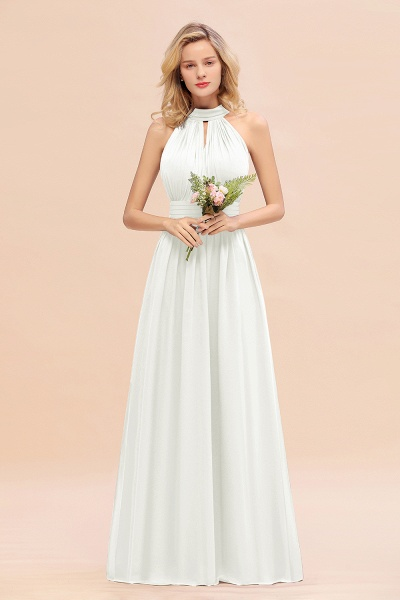 BM0758 Glamorous High-Neck Halter Bridesmaid Affordable Dresses with Ruffle_2