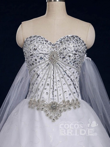 Luxury Sweetheart Crystal Ball Gown Wedding Dresses_2