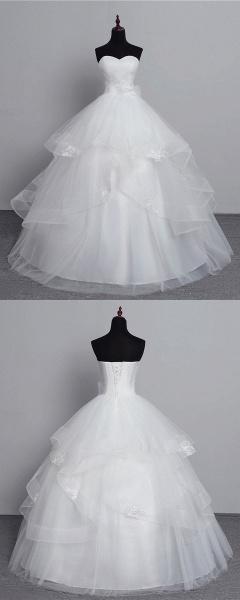 White Tulle Layered Strapless Vintage Wedding Dress_6