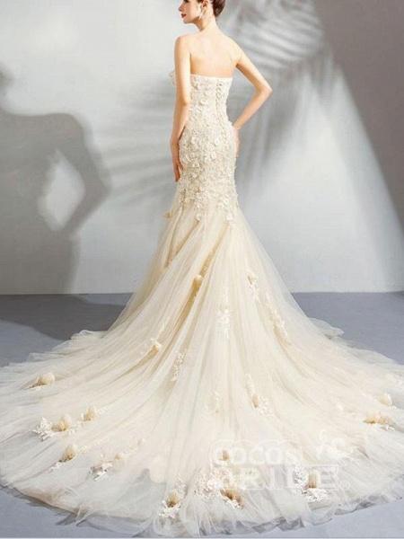 Sweetheart Sleeveless Mermaid Wedding Dresses_3