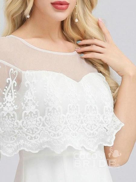 Modest O-Neck Zipper Floor-Length Mermaid Wedding Dresses_5