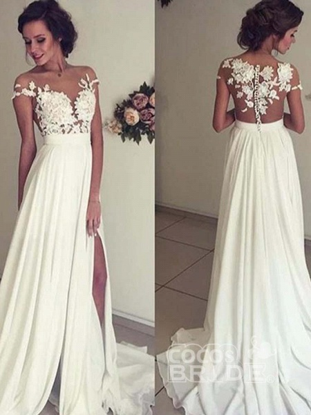 Vintage Cap Sleeves Lace Ruffles A-Line Wedding Dresses_4