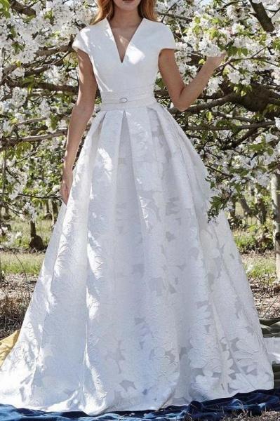 Elegant V Neck with Short Sleeves Lace Floral Wedding Dress_1