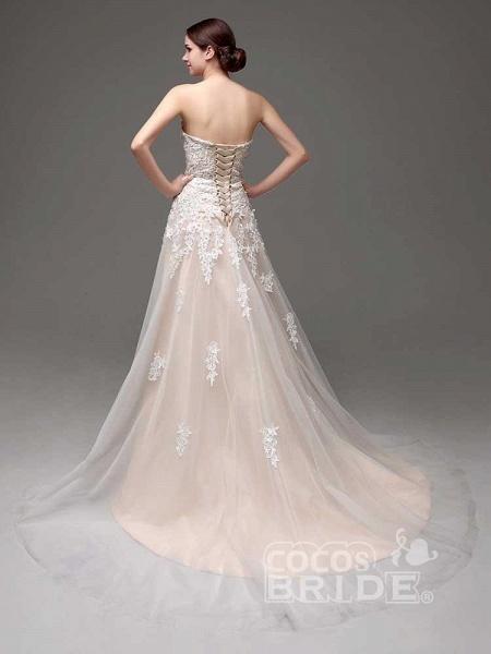Gorgeous Swetheart Sleeveless Tulle Wedding Dresses_2