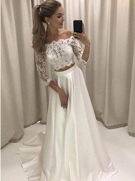 Popular Bateau 3/4 Sleeve Lace Boho Wedding Dresses_1