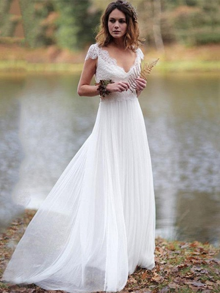V-Neck Cap Sleeves Tulle Backless Boho Wedding Dresses_1