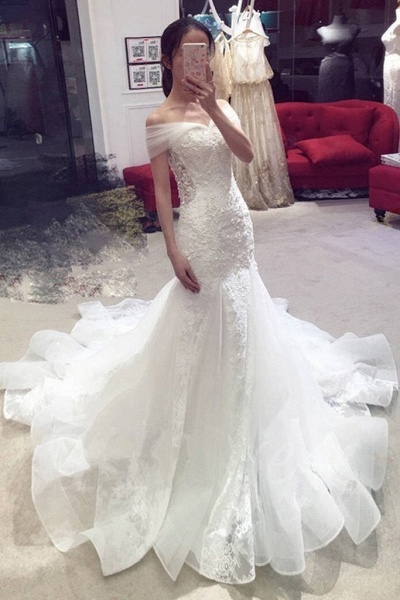 Sexy Mermaid Off-the-shoulder Chapel Train Lace Applique Wedding Dress_1