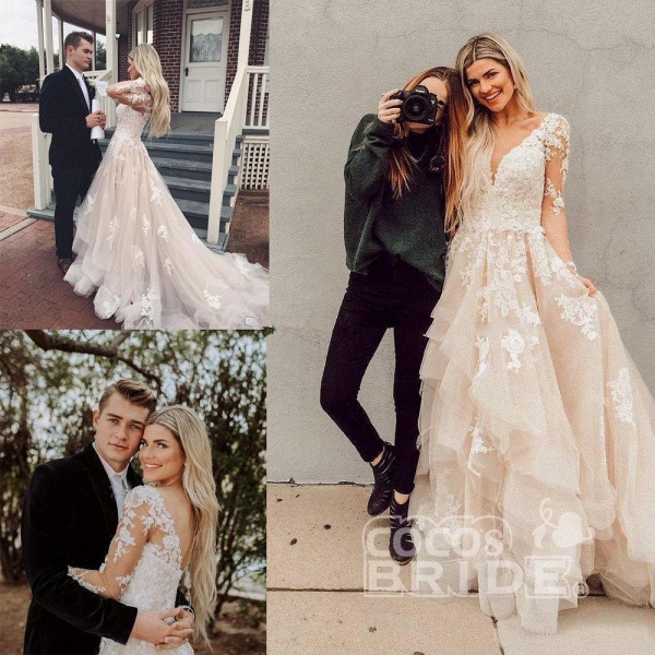 Gorgeous V Neck Long Sleeves Lace Appliques Wedding Dress_2