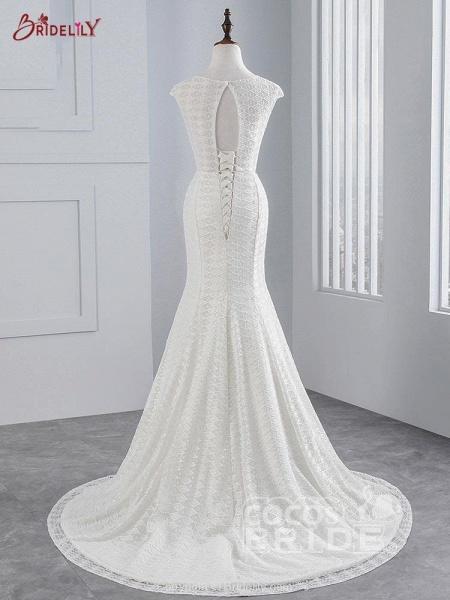 Elegant Cap Sleeves Lace-up Mermaid Wedding Dresses_3