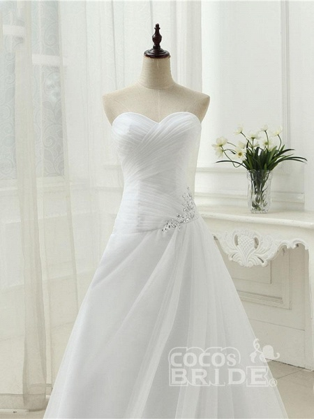 Gorgeous Strapless Ruffle Beaded Tulle Wedding Dresses_5