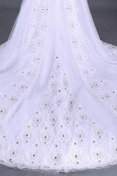 Glamorous Lace-up Beaded Ball Gown Wedding Dresses_5