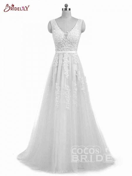 Glamorous V-Neck Lace Ribbon A-line Wedding Dresses_6