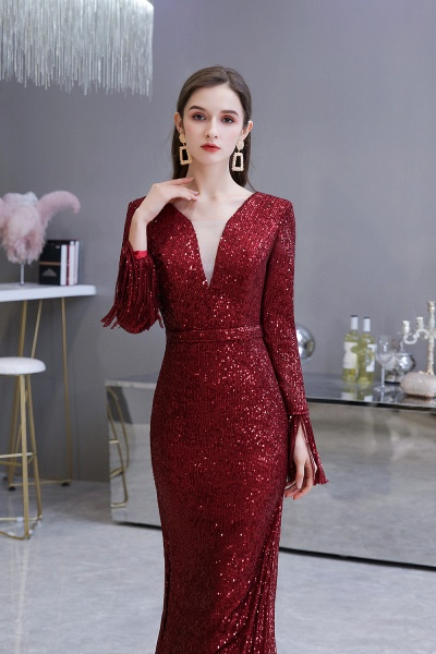 Gorgeous Sequins Long Sleeve V-Neck Mermaid Evening Gowns_14