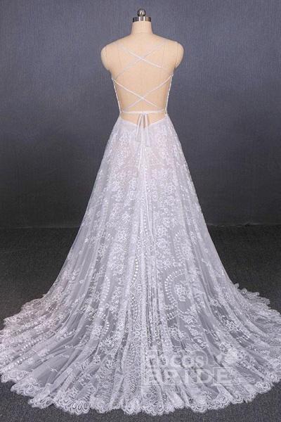 Spaghetti Straps Sweetheart Lace Wedding Dress_2