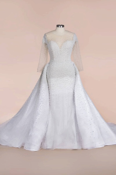 Precious Long Sleeve Beading Sheath Wedding Dress_7