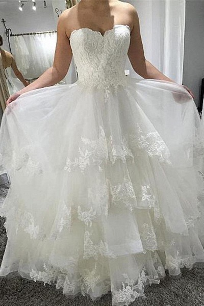 Simple Strapless Beach with Tiered Lace Up Back Wedding Dress_1