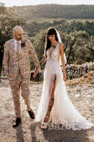 Deep V Neck Thigh Split Beach Vintage Wedding Dress_2