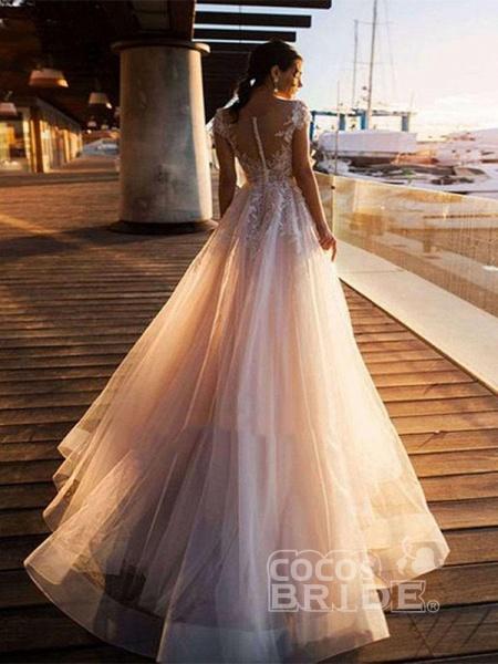 O-Neck Appliques Lace A-Line Wedding Dresses_2