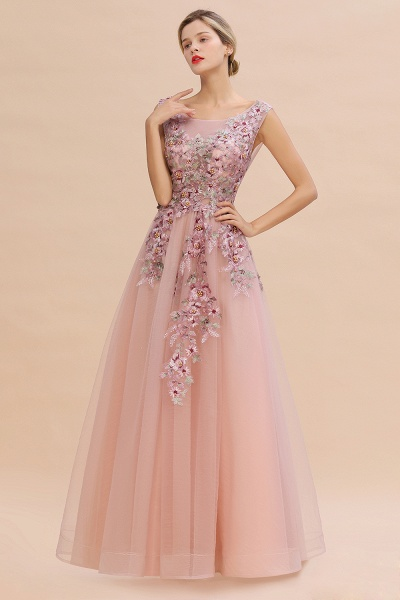 Gorgeous Dusty Pink Tulle Long Lace Appliques Prom Dress_1