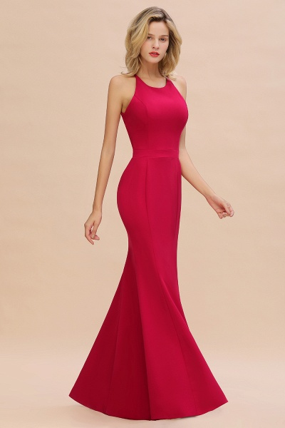 Red Mermaid Halter Prom Dress Long Evening Gowns_8