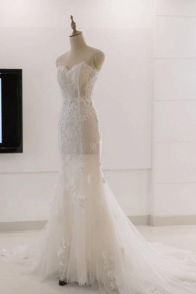 Sweetheart White Tulle Lace Sweep Train Mermaid Wedding Dress_1