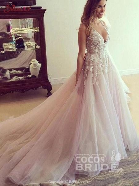 Elegant V Neck Tulle A-Line Wedding Dresses_2
