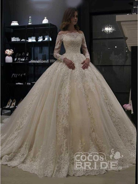 Gorgeous Long Sleeves Lace Ball Gown Wedding Dresses_3