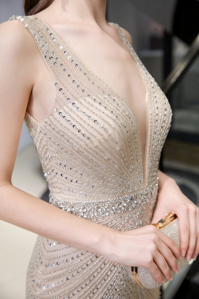 Sexy Mermaid V-neck Silver Long Prom Dress_23