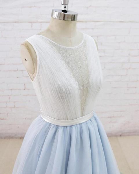 Light Blue Tulle Sheer Back Summer Lace Wedding Dress_4