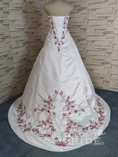 Modest Strapless Beading Sweep Train A-Line Wedding Dresses_2