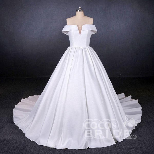 Puffy Off the Shoulder Satin Ball Gown Long Train Wedding Dress_3