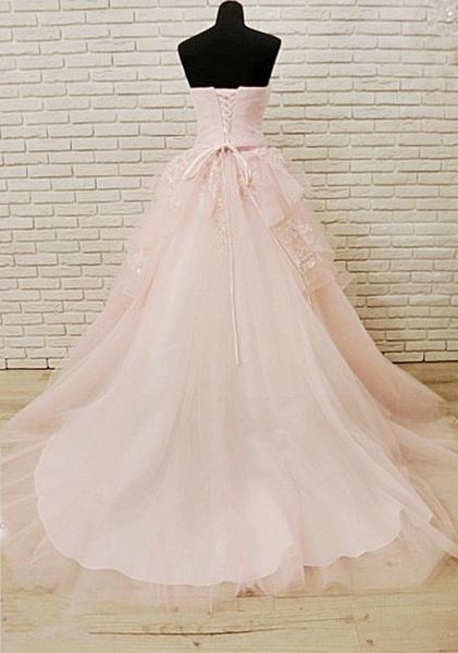Unique Pink Tulle Long Corset Plus Size Wedding Dress_3