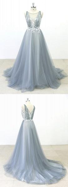 Gray Tulle Round Neck Sweep Train Beach Wedding Dress_5
