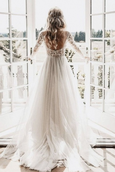 Chic A-line Long Sleeve Lace Backless Country Wedding Dress_1