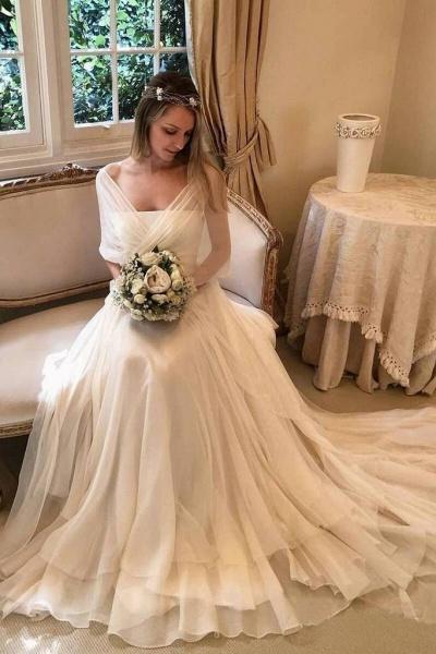 Simple Elegant Chiffon Beach with Wrap Sleeves Unique Wedding Dress_1