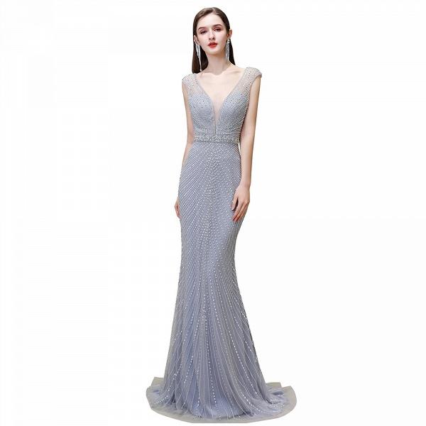 Sexy Mermaid V-neck Silver Long Prom Dress_25