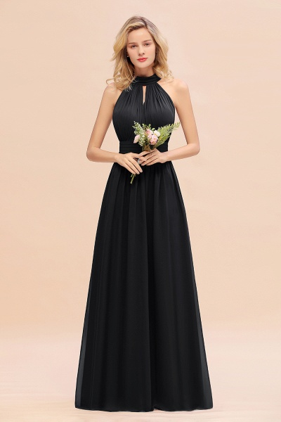 BM0758 Glamorous High-Neck Halter Bridesmaid Affordable Dresses with Ruffle_29
