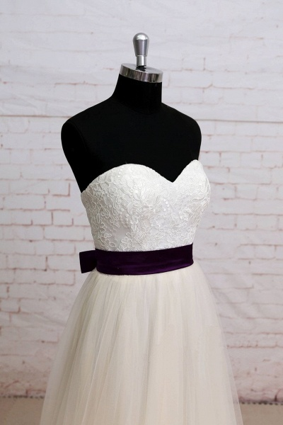 Ivory Lace Strapless Sweep Train A Line Wedding Dress_3