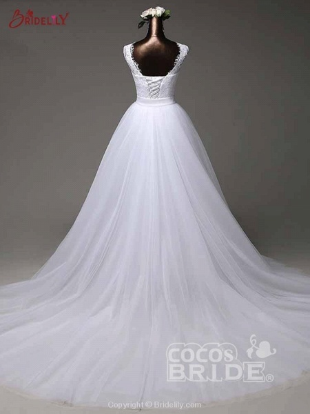 Elegant Bow Lace-Up Tulle Mermaid Wedding Dresses_2